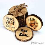 Holzuntersetzer mit Spruch