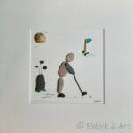 Kieselbild Golfer mit Treibholz und Meerglas