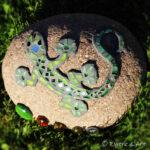 Mosaik Stein Gecko grün