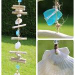 Treibholz Windspiel Meerglas blau