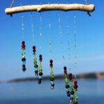 Treibholz Windspiel Glasperlen