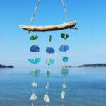 Treibholz Windspiel Meerglas