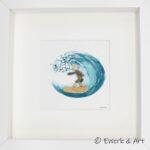 Kieselbild mit Wellenreiter und Aquarell