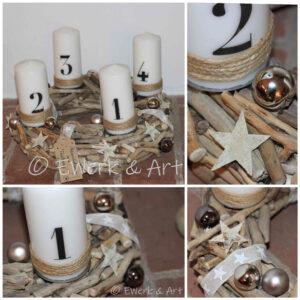 Treibholz Adventskranz mit Kerzen