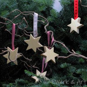 Weihnachten Holz Sterne Anhaenger